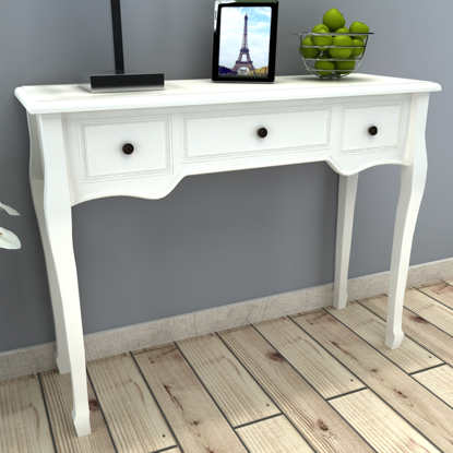 Picture of Dressing Console Table with Three Drawers - White