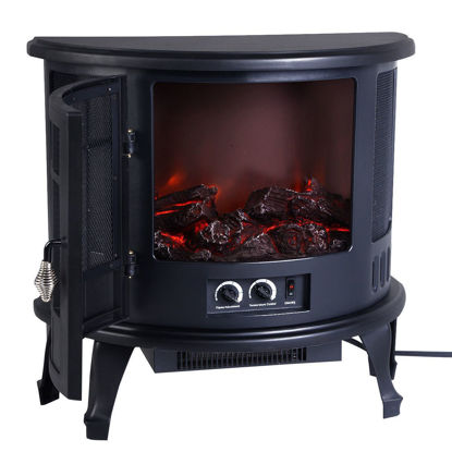 Picture of Electric Fireplace Heater Wood Stove Free Standing 1500W