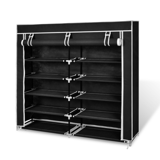 Picture of Fabric Shoe Cabinet with Cover - Black