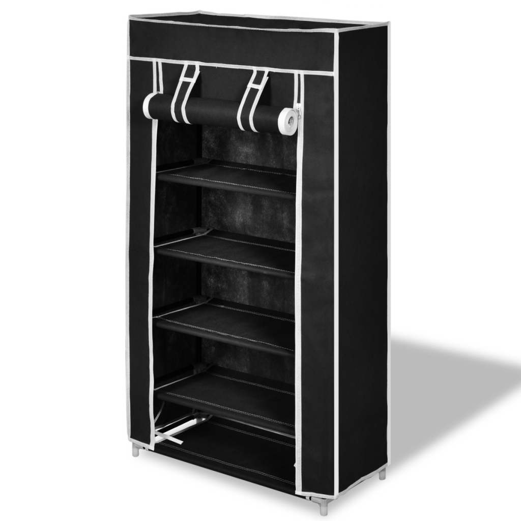 "Picture of Fabric Shoe Cabinet with Cover 23"" x 11"" x 42"" - Black"