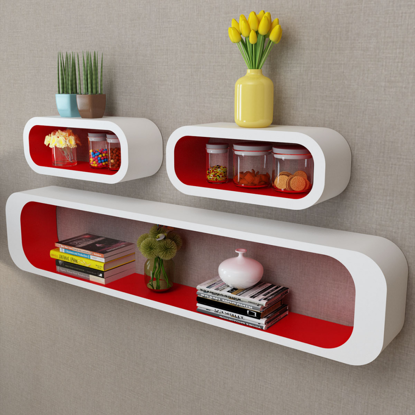 Picture of Floating Wall Display Shelves Cubes - 3 pcs White/Red