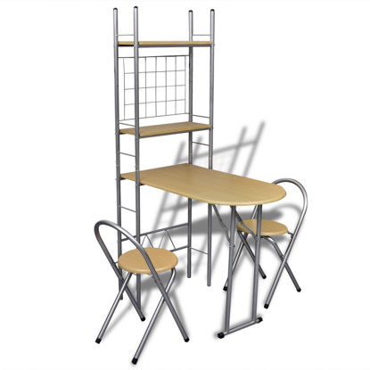 Picture of Foldable Kitchen Breakfast Bar Set with 2 Chairs