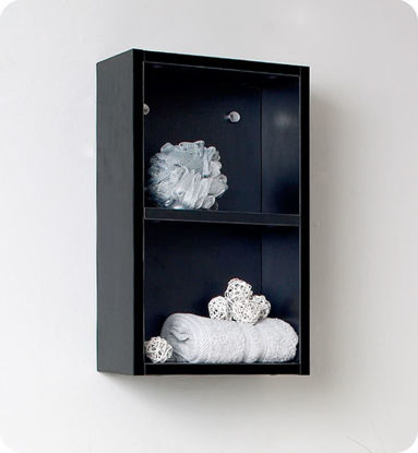 Picture of Fresca Black Bathroom Linen Side Cabinet w/ 2 Open Storage Areas