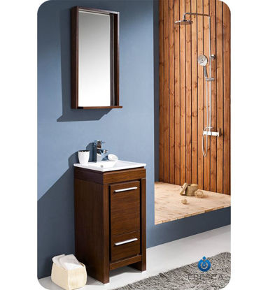 "Picture of Fresca Allier 16"" Wenge Brown Modern Bathroom Vanity w/ Mirror"
