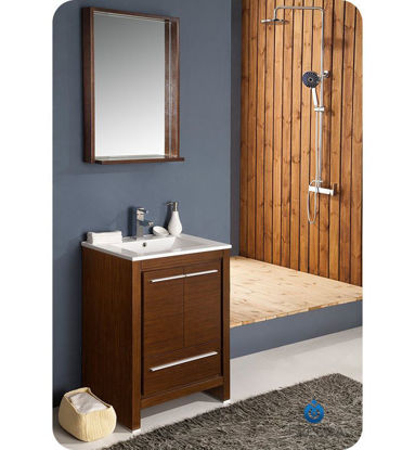 "Picture of Fresca Allier 24"" Wenge Brown Modern Bathroom Vanity with Mirror"