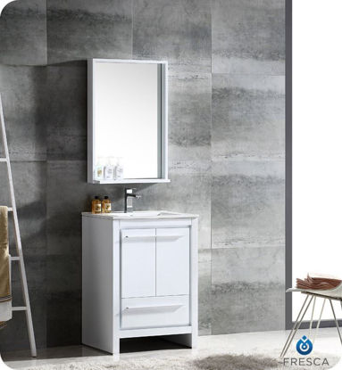 "Picture of Fresca Allier 24"" White Modern Bathroom Vanity w/ Mirror"