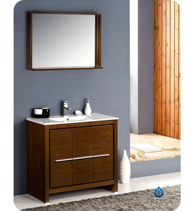 "Picture of Fresca Allier 36"" Wenge Brown Modern Bathroom Vanity w/ Mirror"