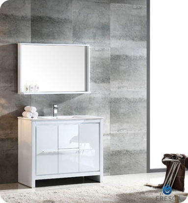 "Picture of Fresca Allier 40"" White Modern Bathroom Vanity w/ Mirror"