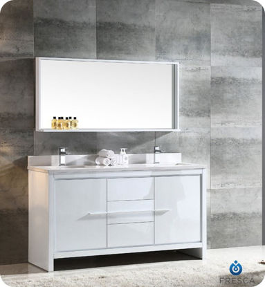 "Picture of Fresca Allier 60"" White Modern Double Sink Bathroom Vanity w/ Mirror"