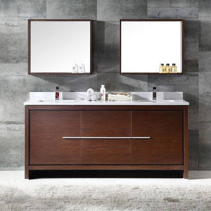 "Picture of Fresca Allier 72"" Wenge Brown Modern Double Sink Bathroom Vanity w/ Mirror"