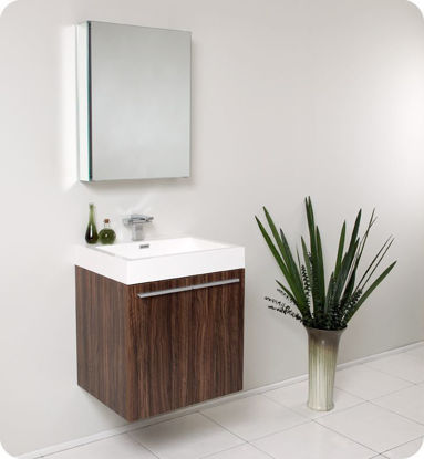 "Picture of Fresca Alto 23"" Walnut Modern Bathroom Vanity with Medicine Cabinet"