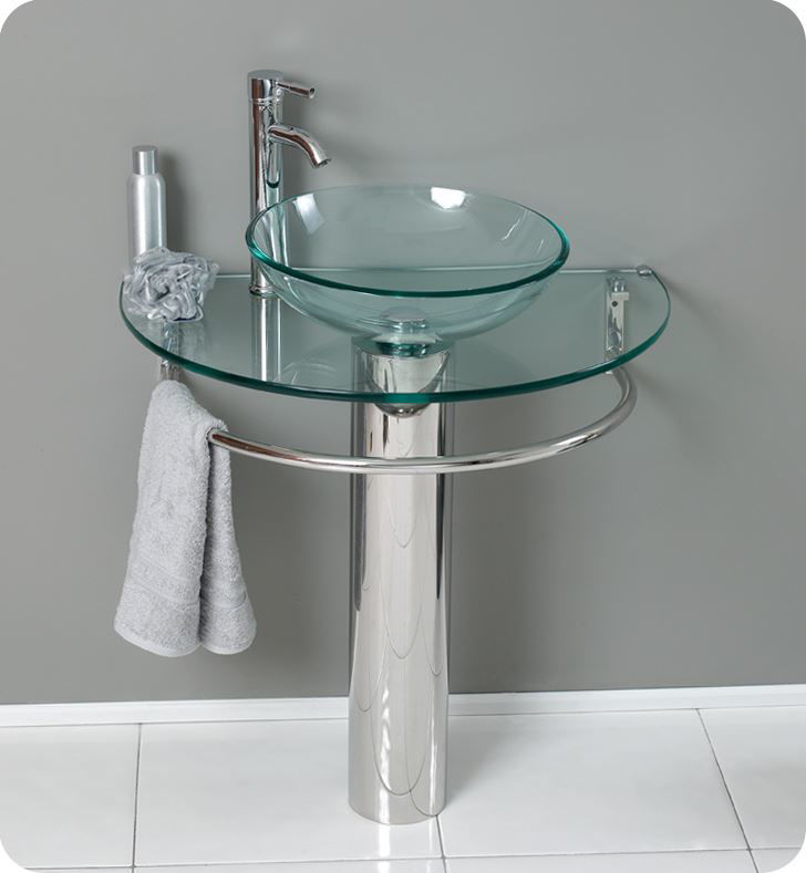 "Picture of Fresca Attrazione 30"" Modern Glass Bathroom Vanity with Frosted Edge Mirror"