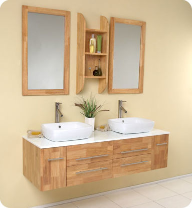 "Picture of Fresca Bellezza 59"" Natural Wood Modern Double Vessel Sink Bathroom Vanity"