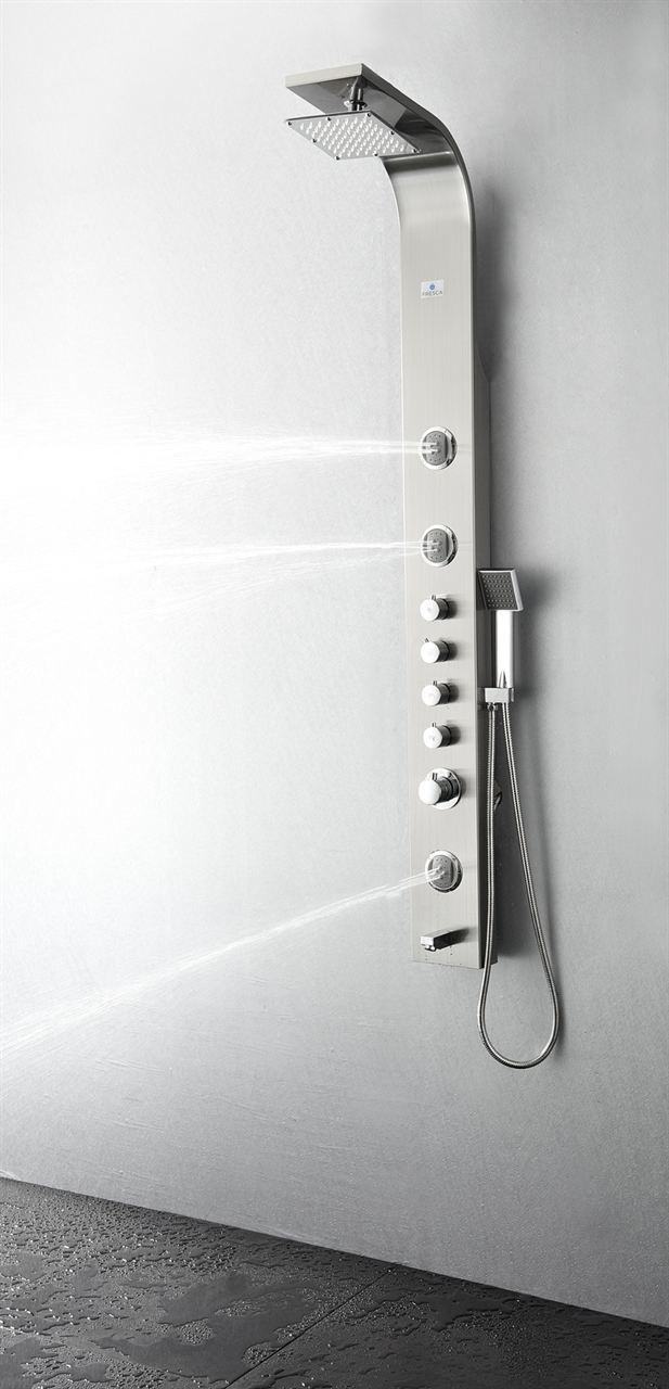 Picture of Fresca Geona Stainless Steel (Brushed Silver) Thermostatic Shower Massage Panel