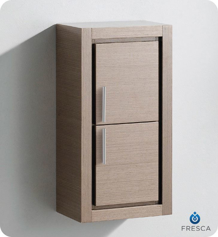 Picture of Fresca Gray Oak Bathroom Linen Side Cabinet w/ 2 Doors
