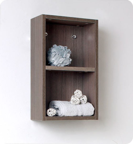 Picture of Fresca Gray Oak Bathroom Linen Side Cabinet w/ 2 Open Storage Areas