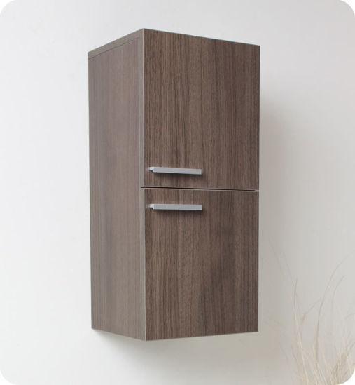 Picture of Fresca Gray Oak Bathroom Linen Side Cabinet w/ 2 Storage Areas