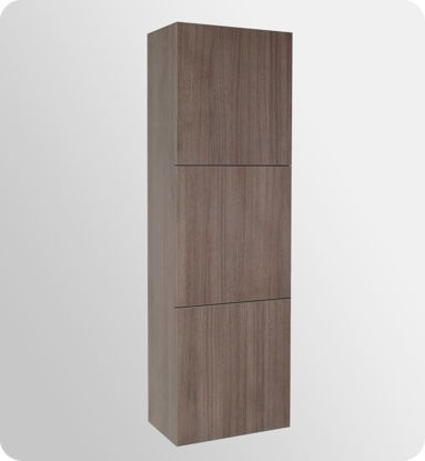 Picture of Fresca Gray Oak Bathroom Linen Side Cabinet w/ 3 Large Storage Areas