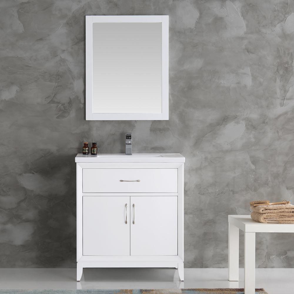"Picture of Fresca Cambridge 30"" White Traditional Bathroom Vanity w/ Mirror"