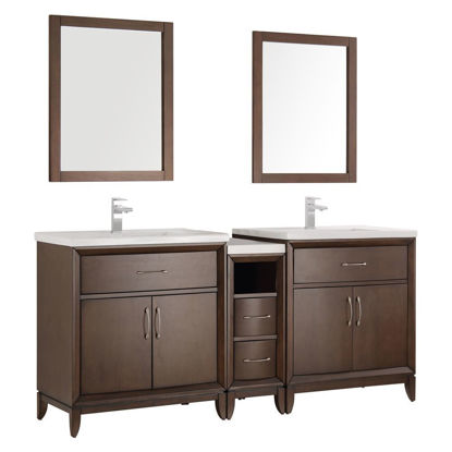 "Picture of Fresca Cambridge 72"" Antique Coffee Double Sink Traditional Bathroom Vanity w/ Mirrors"