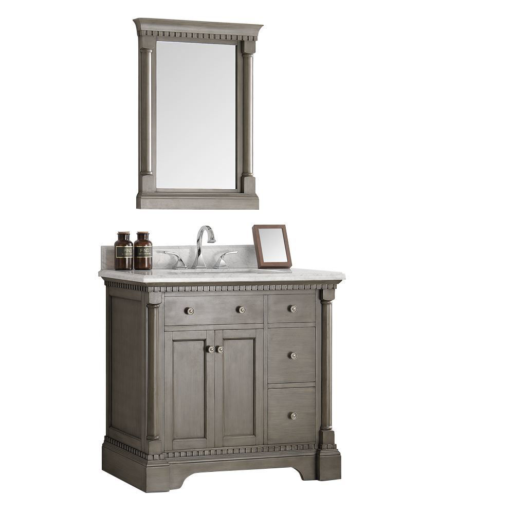"""Picture of Fresca Kingston 37"""" Antique Silver Traditional Bathroom Vanity w/ Mirror"""