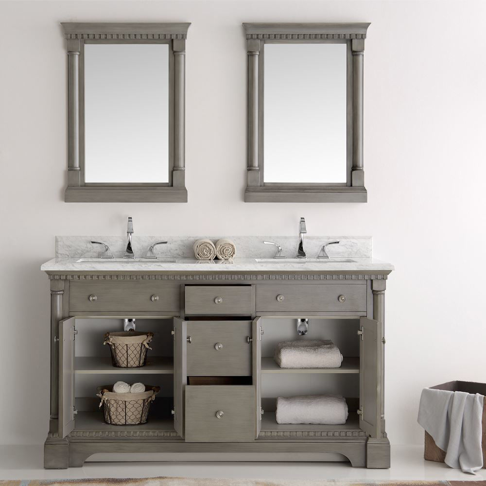 "Picture of Fresca Kingston 61"" Antique Silver Double Sink Traditional Bathroom Vanity with Mirrors"