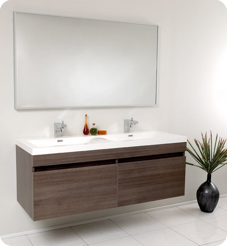 "Picture of Fresca Largo 57"" Gray Oak Modern Bathroom Vanity with Wavy Double Sinks"