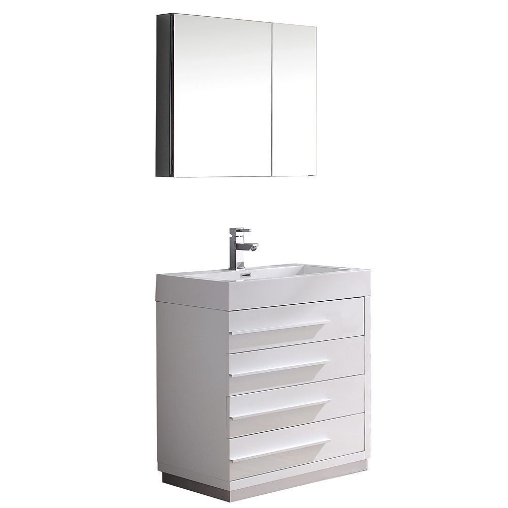 "Picture of Fresca Livello 30"" Modern Bathroom Vanity with Medicine Cabinet in White"