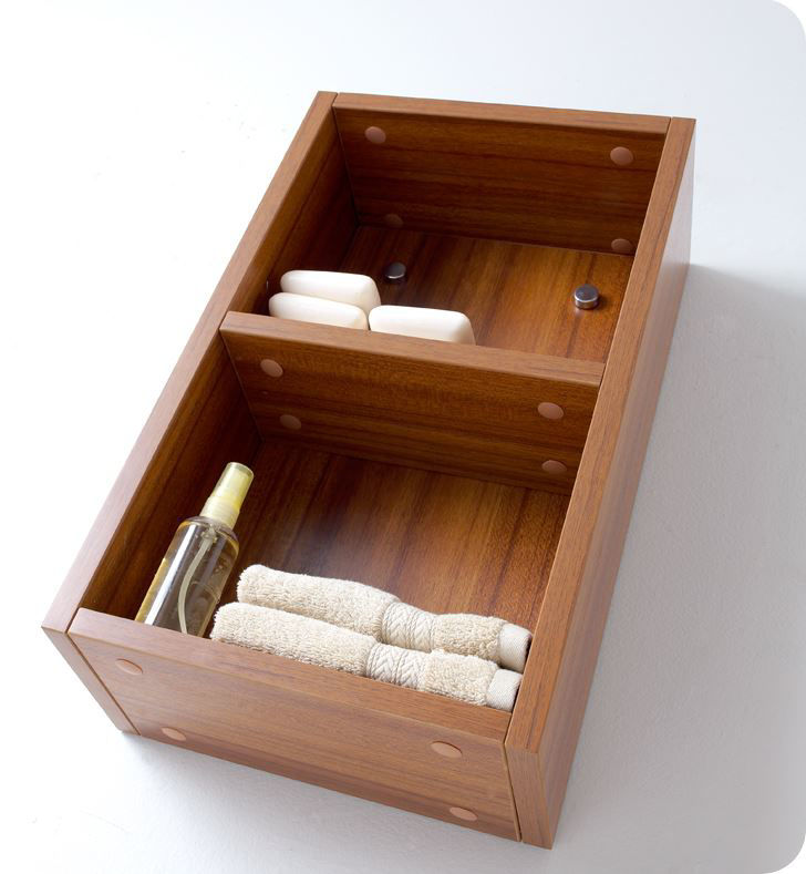 Picture of Fresca Teak Bathroom Linen Side Cabinet with 2 Open Storage Areas