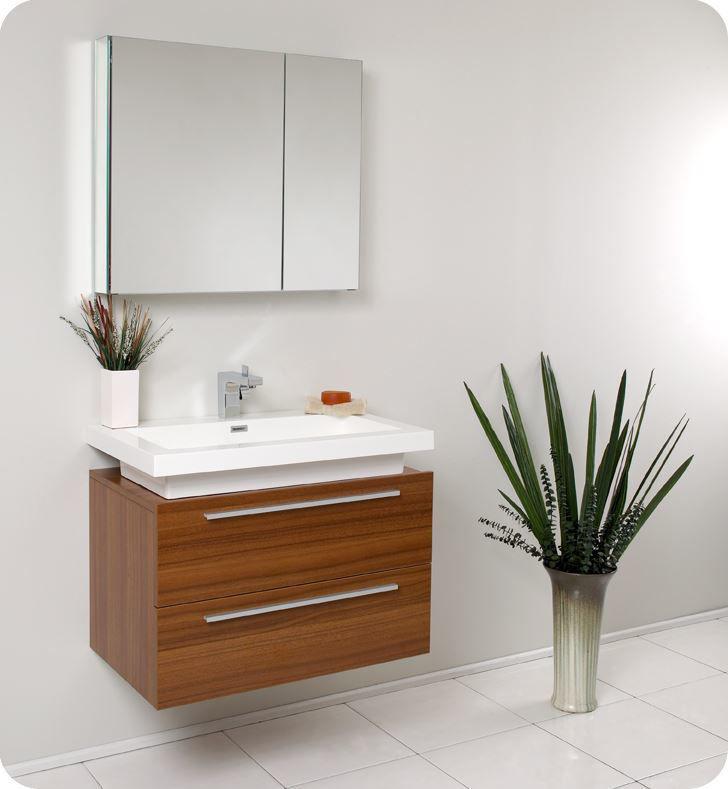 "Picture of Fresca Medio 32"" Teak Modern Bathroom Vanity with Medicine Cabinet"