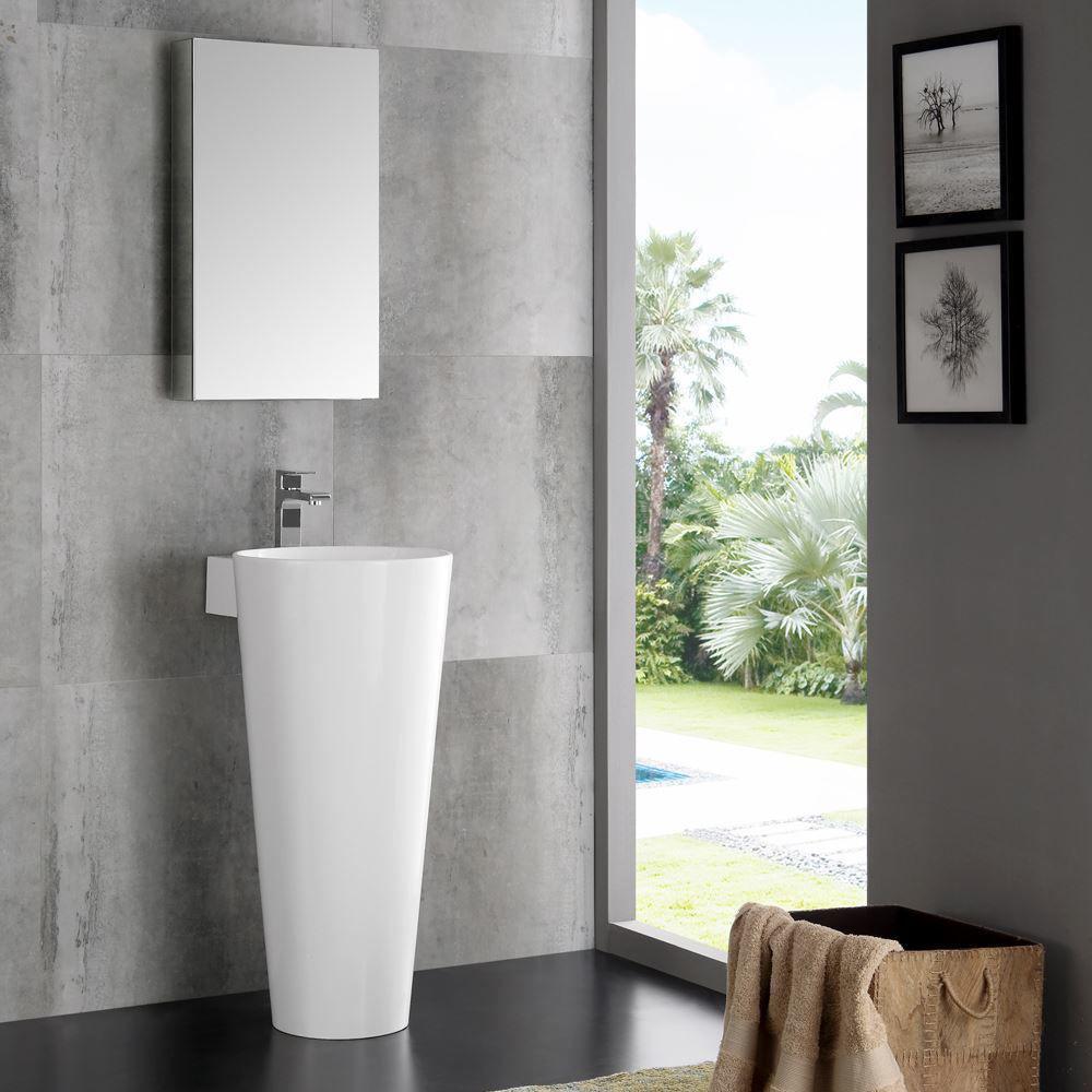 "Picture of Fresca Messina 16"" White Pedestal Sink with Medicine Cabinet - Modern Bathroom Vanity"
