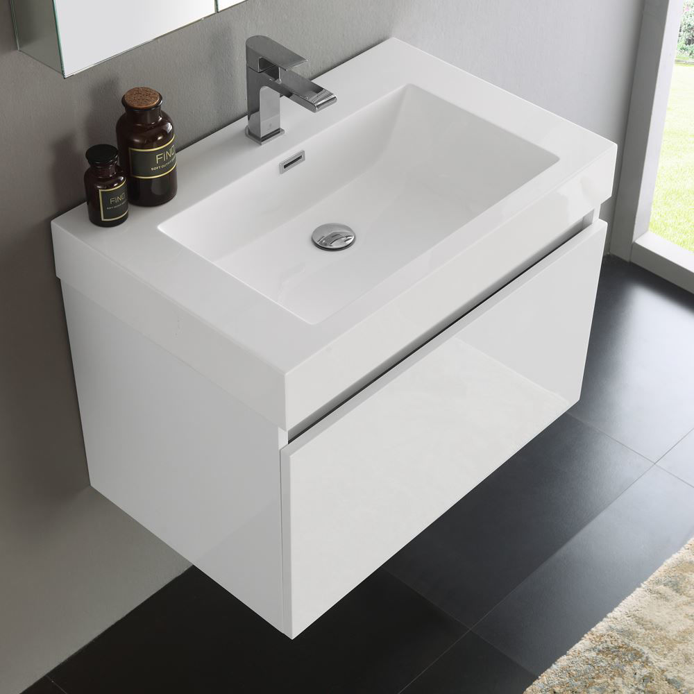 "Picture of Fresca Mezzo 30"" White Wall Hung Modern Bathroom Vanity with Medicine Cabinet"