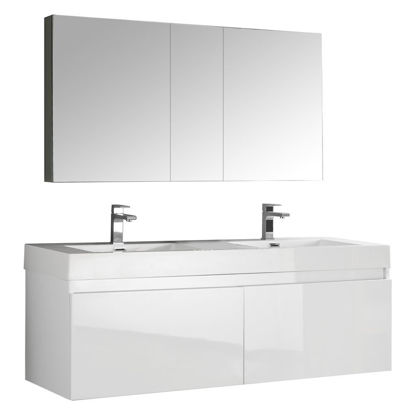 "Picture of Fresca Mezzo 59"" White Wall Hung Double Sink Modern Bathroom Vanity with Medicine Cabinet"