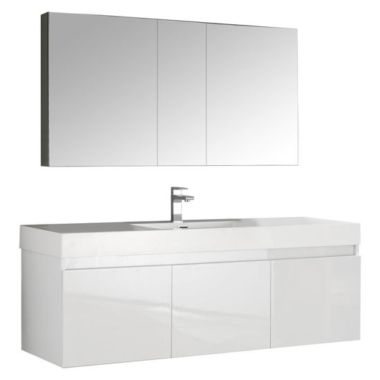 "Picture of Fresca Mezzo 59"" White Wall Hung Single Sink Modern Bathroom Vanity with Medicine Cabinet"