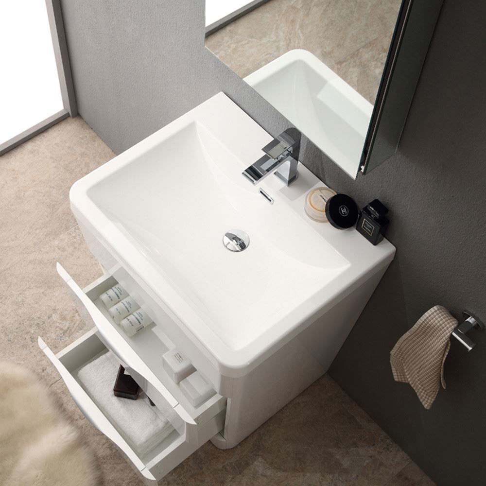 """Picture of Fresca Milano 26"""" Modern Bathroom Vanity in a Glossy White Finish with Medicine Cabinet and Faucet"""