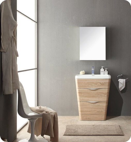 "Picture of Fresca Milano 26"" Modern Bathroom Vanity in a White Oak Finish with Medicine Cabinet and Faucet"