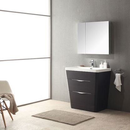 """Picture of Fresca Milano 32"""" Modern Bathroom Vanity in a Chestnut Finish with Medicine Cabinet and Faucet"""