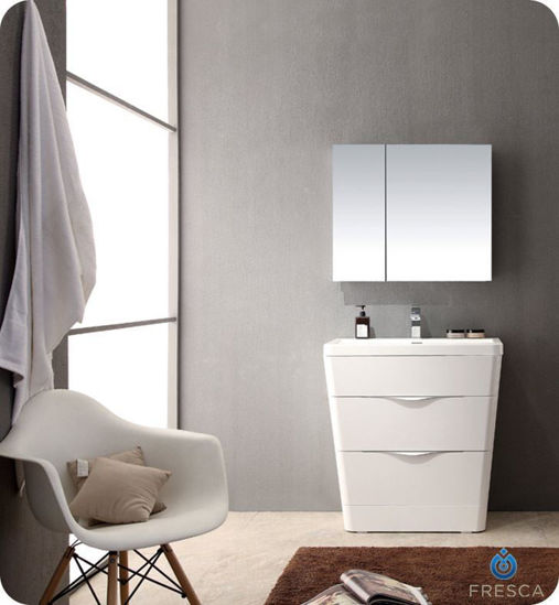 """Picture of Fresca Milano 32"""" Modern Bathroom Vanity in a Glossy White Finish with Medicine Cabinet and Faucet"""