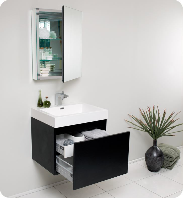 "Picture of Fresca Nano 24"" Black Modern Bathroom Vanity with Medicine Cabinet"