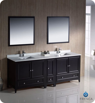 "Picture of Fresca Oxford 84"" Espresso Traditional Double Sink Bathroom Vanity w/ Side Cabinet"