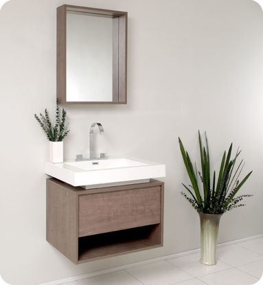 "Picture of Fresca Potenza 28"" Gray Oak Modern Bathroom Vanity with Pop Open Drawer"