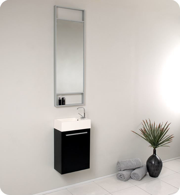 """Picture of Fresca Pulito 16"""" Small Black Modern Bathroom Vanity with Tall Mirror"""