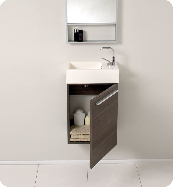 "Picture of Fresca Pulito 16"" Small Gray Oak Modern Bathroom Vanity with Tall Mirror"