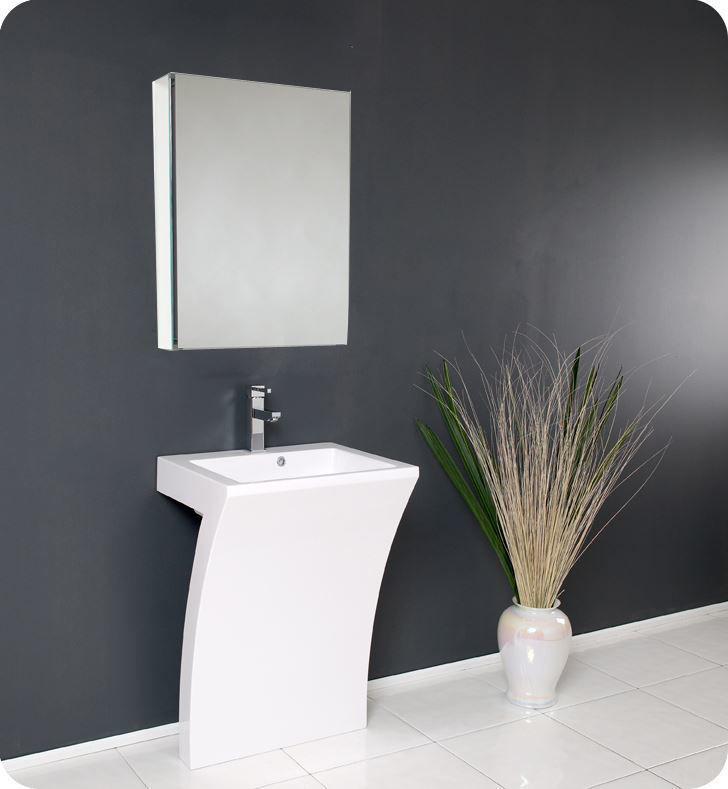 "Picture of Fresca Quadro 23"" White Pedestal Sink with Medicine Cabinet"