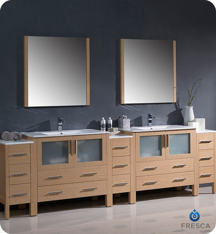 """Picture of Fresca Torino 108"""" Light Oak Modern Double Sink Bathroom Vanity with 3 Side Cabinets and Integrated Sinks"""