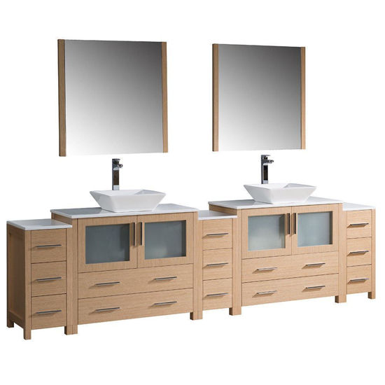 "Picture of Fresca Torino 108"" Light Oak Modern Double Sink Bathroom Vanity with 3 Side Cabinets and Vessel Sinks"