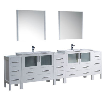 "Picture of Fresca Torino 108"" White Modern Double Sink Bathroom Vanity with 3 Side Cabinets and Integrated Sinks"