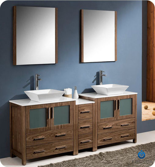 "Picture of Fresca Torino 72"" Walnut Brown Modern Double Sink Bathroom Vanity w/ Side Cabinet & Vessel Sinks"