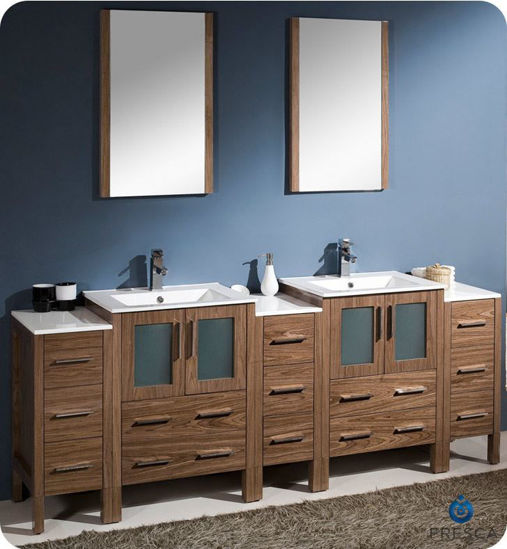 """Picture of Fresca Torino 84"""" Walnut Brown Modern Double Sink Bathroom Vanity w/ 3 Side Cabinets & Integrated Sinks"""