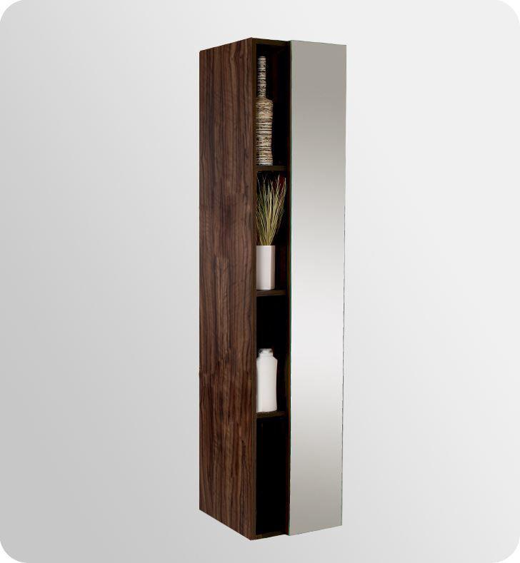 Picture of Fresca Walnut Bathroom Linen Side Cabinet w/ 4 Cubby Holes & Mirror